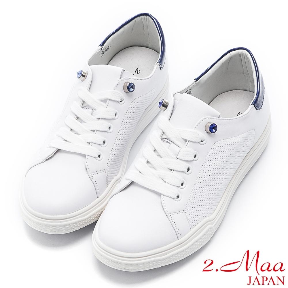 2.Maa 時尚寶石牛皮綁帶小白鞋 - 藍白