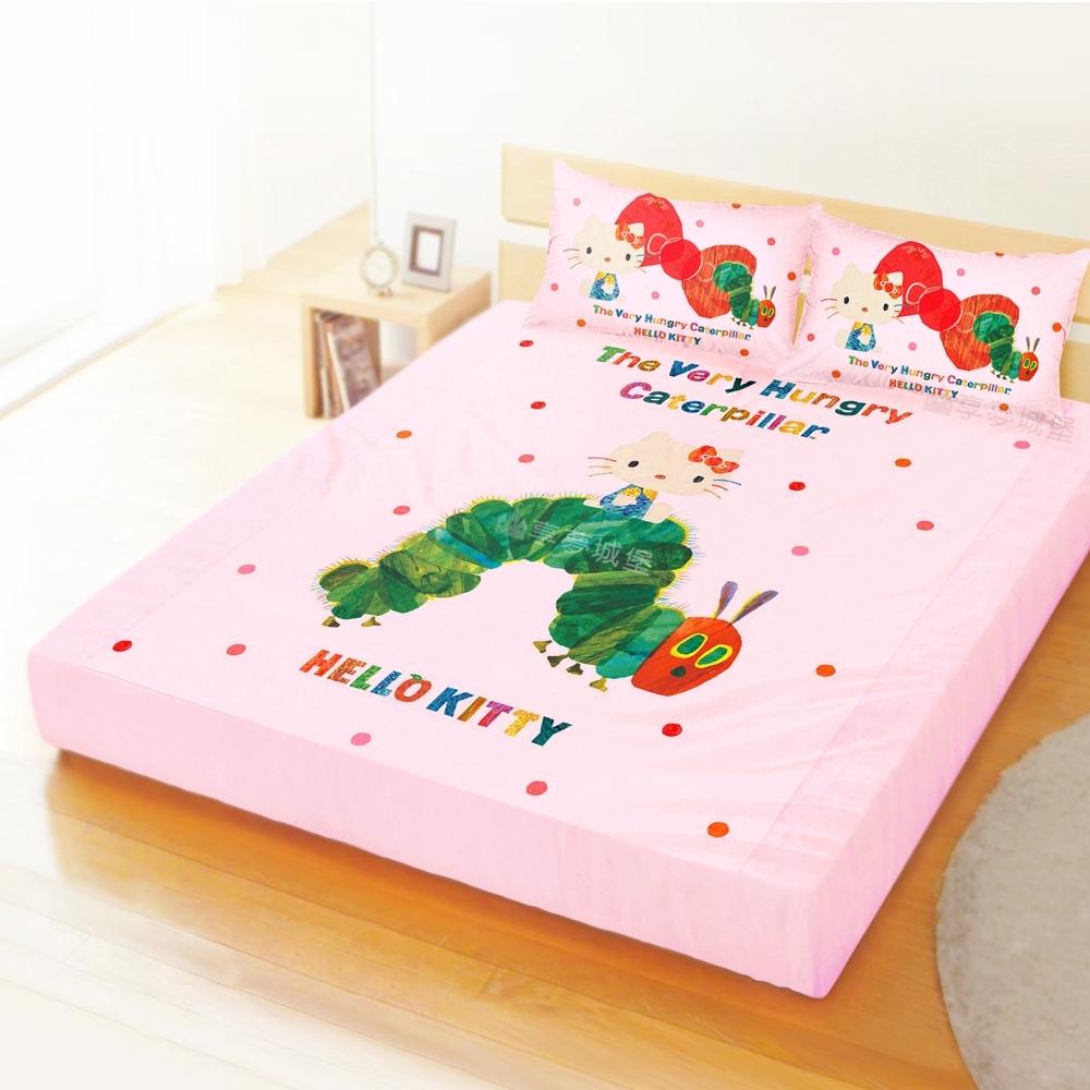 享夢城堡 雙人加大床包枕套6x6.2三件組-HELLO KITTY X 好餓的毛毛蟲-粉
