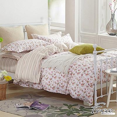 FOCA春日戀曲-單人-韓風設計100%精梳純棉三件式薄被套床包組