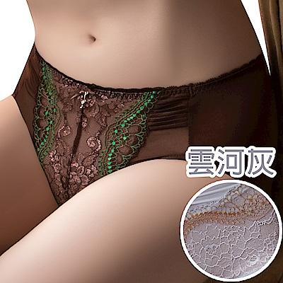 思薇爾 薔薇魅影系列M-XXL蕾絲中腰三角內褲(雲河灰)
