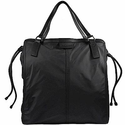 BURBERRY 燙印戰馬素面尼龍束口購物包(黑)