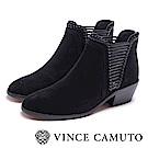 VINCE CAMUTO 個性側編織中跟短靴-絨黑