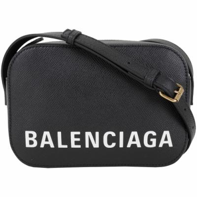 BALENCIAGA VILLE 品牌字母粒面小牛皮相機包(黑色/XS)