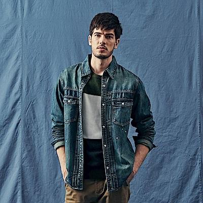 CACO-復古牛仔襯衫-(兩色)-男【QNA095】
