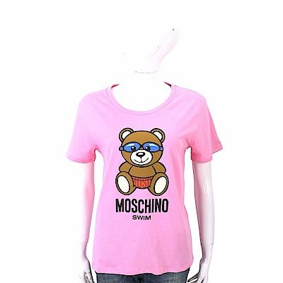 MOSCHINO Swim 泳鏡泰迪熊寶寶粉色棉質T恤(合身版)