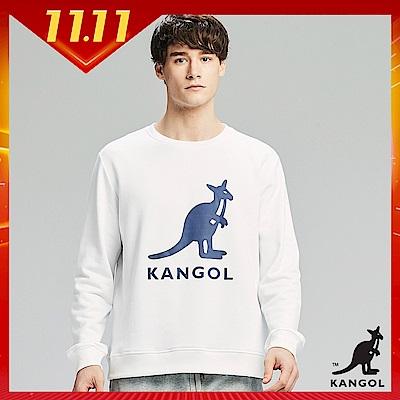 【KANGOL】大LOGO設計圓領上衣/大學T-男-白