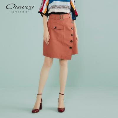 OUWEY歐薇 都會感單排釦造型A字裙(磚)