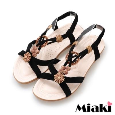 Miaki-涼鞋南洋時尚平底涼拖-黑