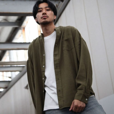 ZIP日本男裝 長袖法蘭絨襯衫寬版剪裁純棉(5色)