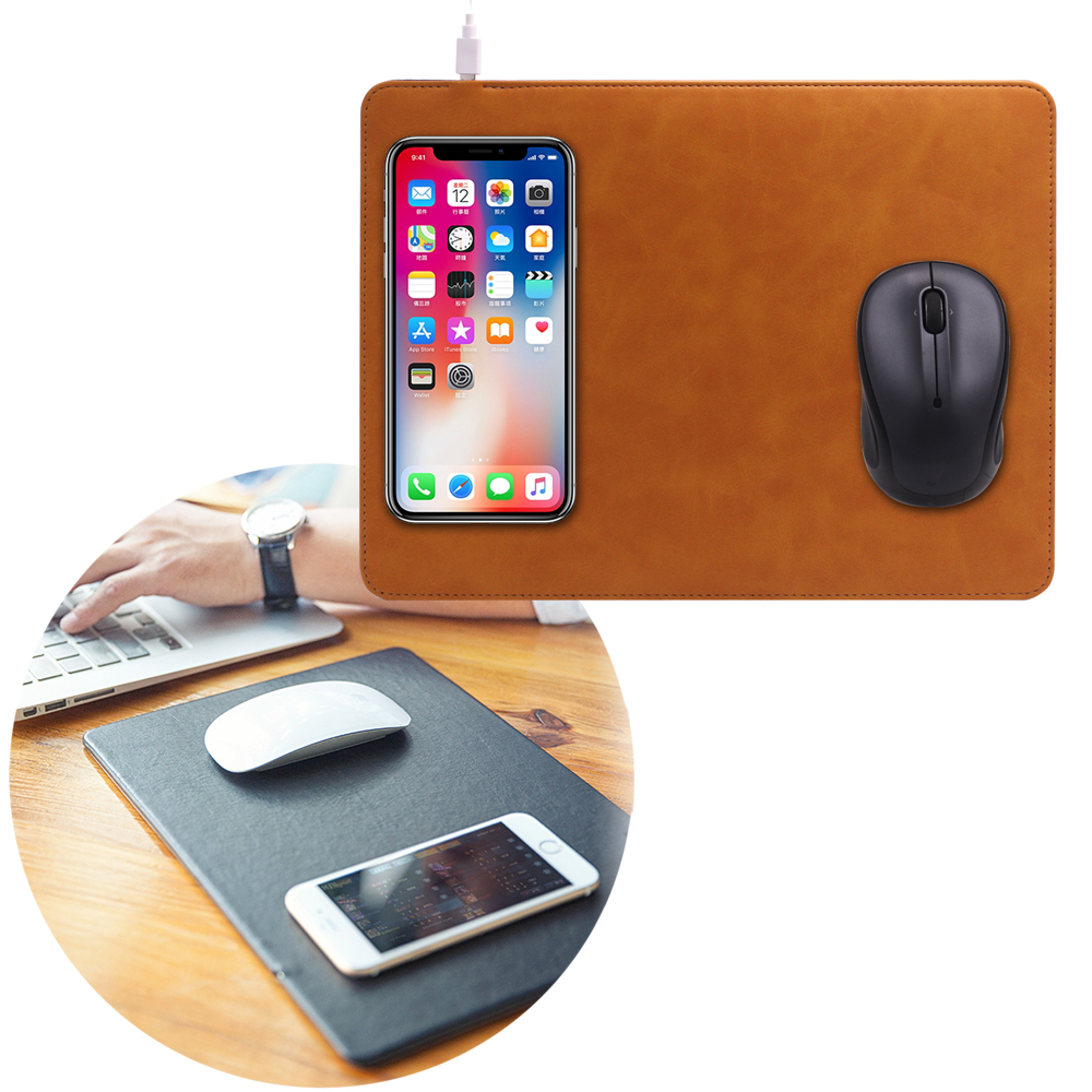 IS愛思 Qi-M01 皮革款Qi無線充電滑鼠墊