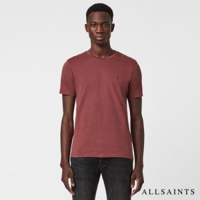 ALLSAINTS  BRACE CONTRAST 率性撞色公羊頭骨刺繡碳刷純棉短袖T恤-酒紅