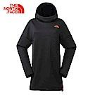 The North Face北面女款黑色吸濕排汗長版連帽T恤|3GJGJK3
