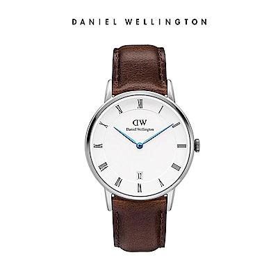 DW 手錶 官方旗艦店 34mm銀框 Dapper 深棕真皮皮革