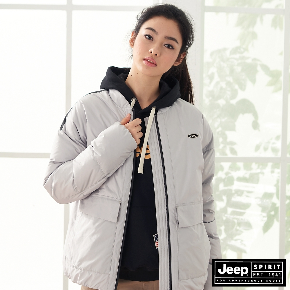 Jeep 女裝 極保暖防寒輕羽絨外套-淺灰