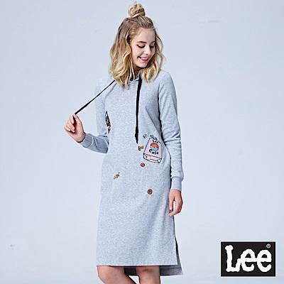 Lee 長版連帽厚TEE-灰色