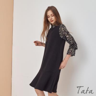 拼接雪紡印花袖針織洋裝 TATA-(L/XL)