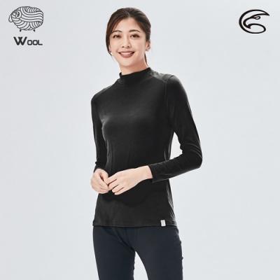 ADISI 女美麗諾混紡羊毛高領彈性保暖衣AU2021032 / 濃墨黑