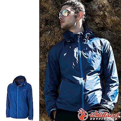 Wildland 荒野 0A52908-77中藍色 男輕量天鵝絨防風保暖外套