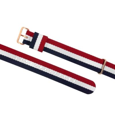 Watchband DW 各品牌通用 鍍玫瑰金不鏽鋼扣頭 尼龍錶帶-紅x白x藍