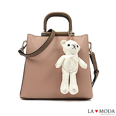 La Moda 注目度極高~小熊水鑽公仔娃娃配飾大容量肩背手提方包(粉)