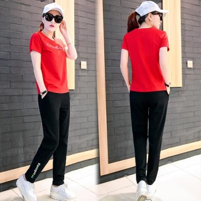 【韓國K.W.】(預購)自在樂活字母簡約套裝褲-3色