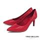 Tino Bellini巴西進口性感女神牛皮壓紋尖楦高跟鞋_紅 product thumbnail 1