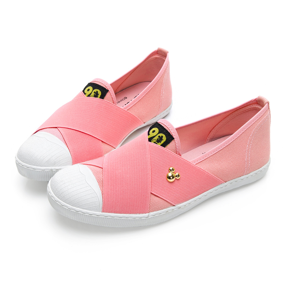 DISNEY 彈性交叉繃帶懶人鞋-粉-DW513799