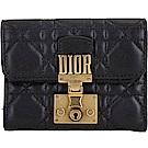 Dior DIORADDICT 頂級小羊皮籐格紋釦式短夾(黑色)