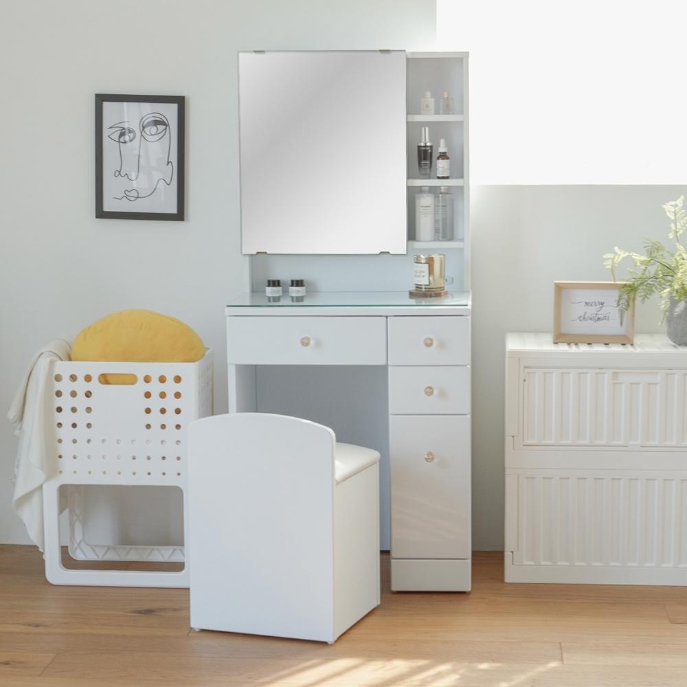 買就送 完美主義 美學大空間收納化妝桌椅組/化妝台/化妝椅(2色)