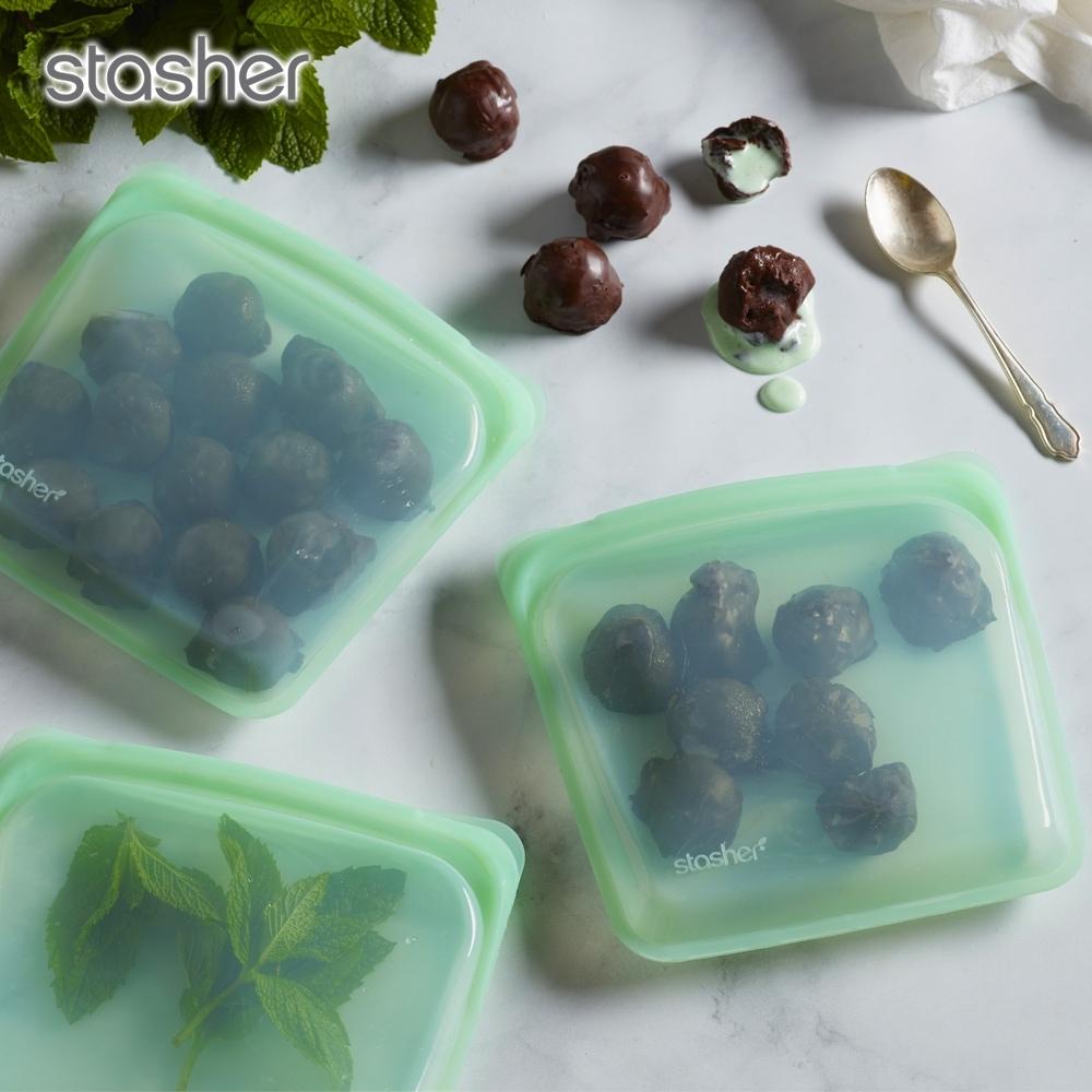 美國Stasher 方形白金矽膠密封袋-薄荷綠