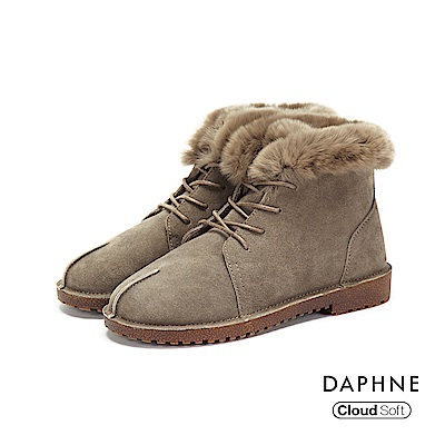 達芙妮DAPHNE 短靴-牛反毛絨面革佐兔毛綁帶短靴-駝