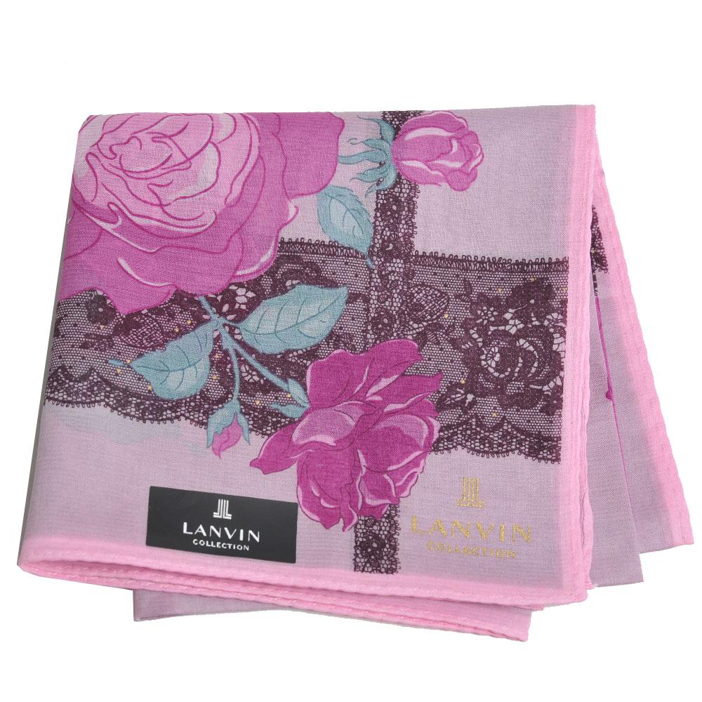LANVIN 優雅玫瑰花圖騰字母LOGO蕾絲圖紋帕領巾(大/粉紅系)