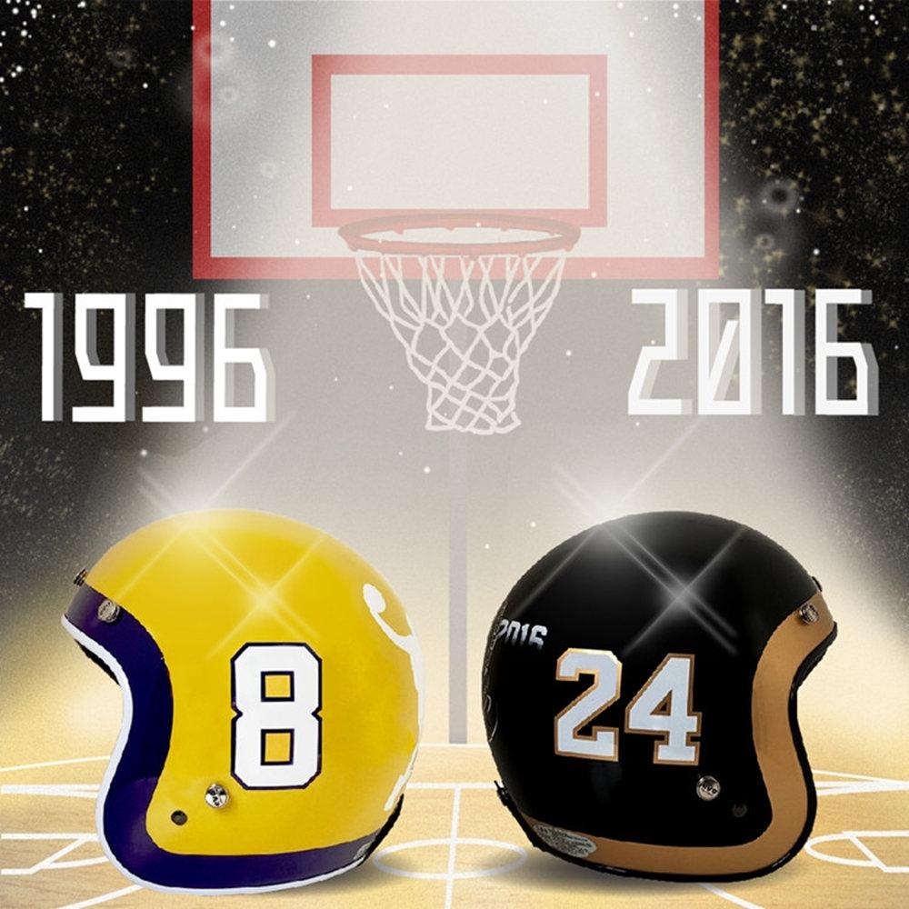 【ANING】8-24號 籃 球 安全帽 紀念款 |限量上市|復古帽| 騎士帽|安全帽|機車|鏡片|內襯|鏡片|3/4罩| E1