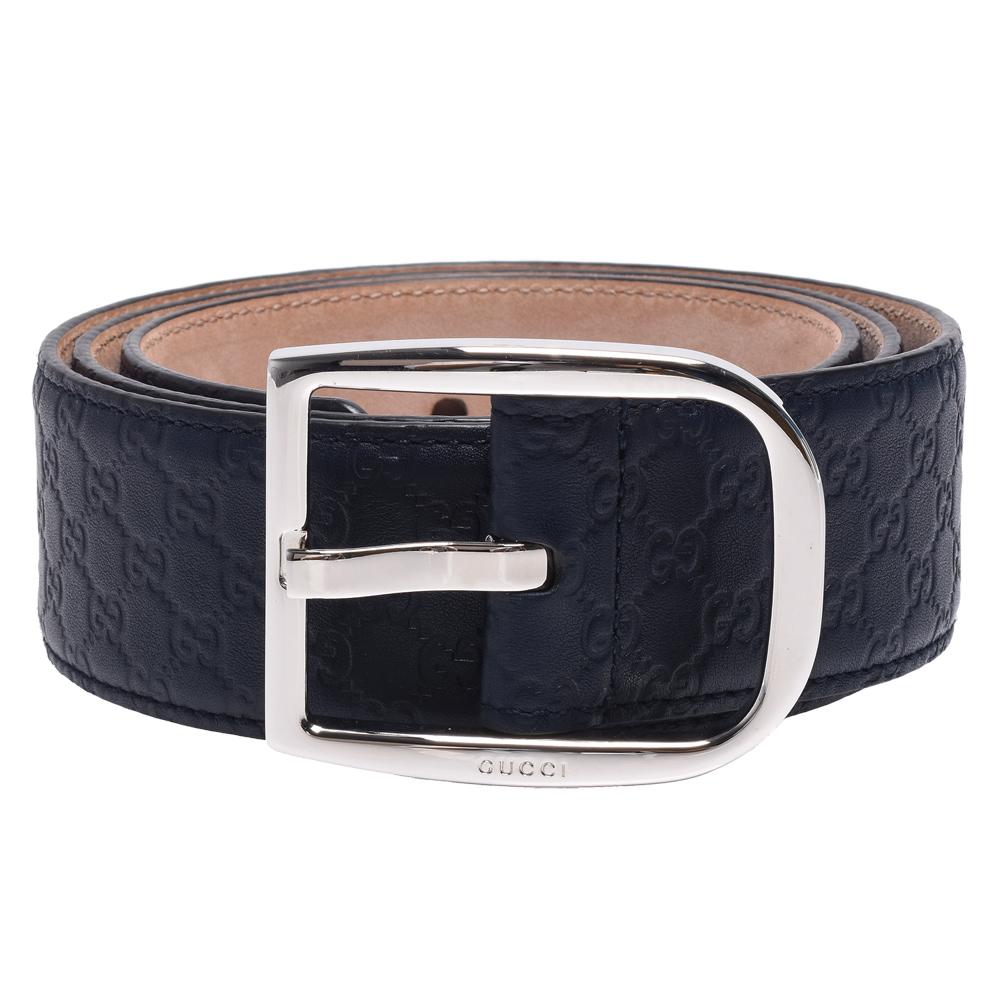 GUCCI 經典Guccissima GG壓紋銀釦牛皮腰帶/皮帶(藍)