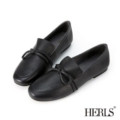 HERLS樂福鞋-全真皮打結圓頭超軟平底鞋樂福鞋-黑色