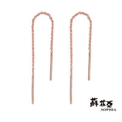 蘇菲亞SOPHIA - 流線垂墜玫瑰金色純銀耳環