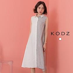東京著衣-KODZ  鄰家女孩大膽撞色排釦背心傘狀洋裝-S.M.L(共兩色)