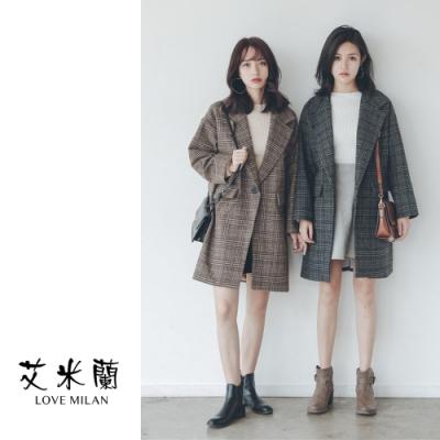 艾米蘭-經典格紋保暖毛呢大衣-2色(S-L)
