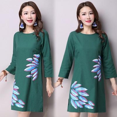 【韓國K.W.】圓領素色印花棉麻洋裝