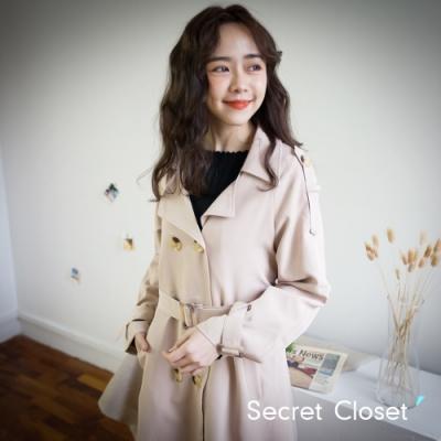 Secret Closet-韓版英倫氣質過膝長版外套