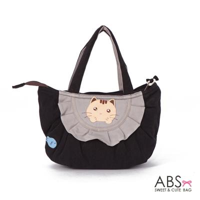ABS貝斯貓 可愛小魚趴趴貓布包小提袋(個性黑)88-115