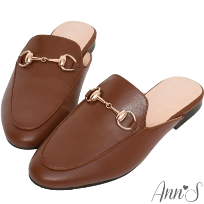 Ann'S質感不破內裡真小羊皮金釦穆勒鞋-深咖(版型偏小)