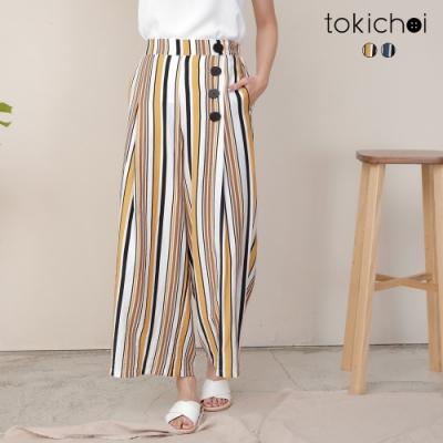 東京著衣 自然氛圍普普線條排釦點綴寬褲-S.M.L(共二色)