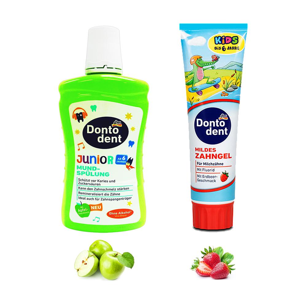 摩達客-德國進口DM DONTODENT兒童蘋果香漱口水+兒童牙膏草莓口味 二合一優惠組
