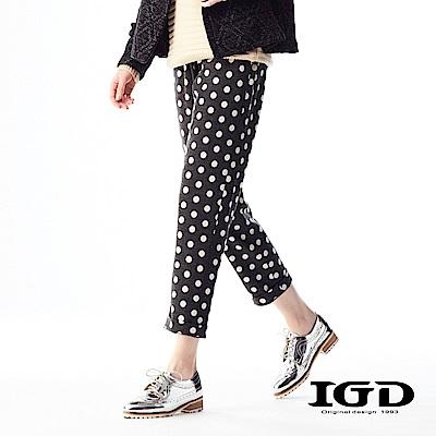 IGD英格麗 羊毛悠閒風點點印花織帶修身長褲-深灰