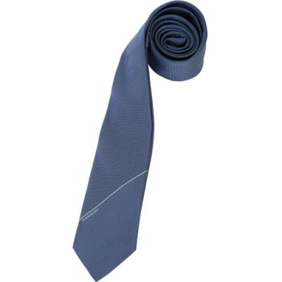GIVENCHY 字母標誌斜紋緹花真絲領帶(深藍色)