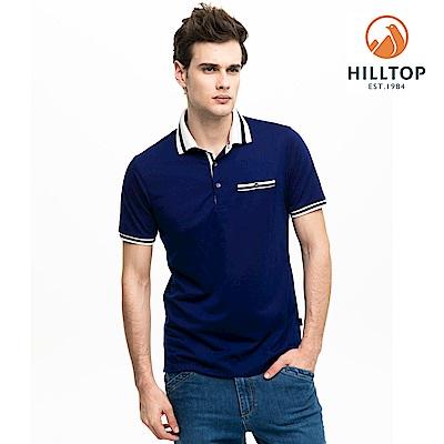 【hilltop山頂鳥】男款吸濕快乾抗菌彈性POLO衫S14MH1藍紫