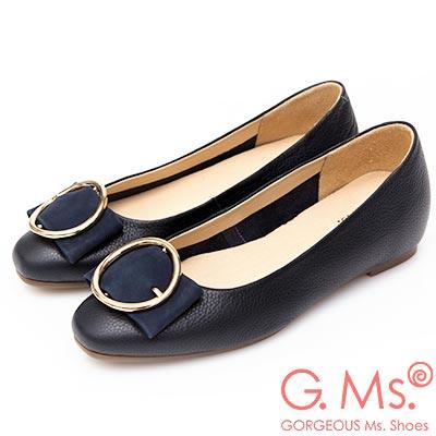 G.Ms. MIT系列-圓釦金屬蝴蝶結牛皮內增高平底鞋-深藍