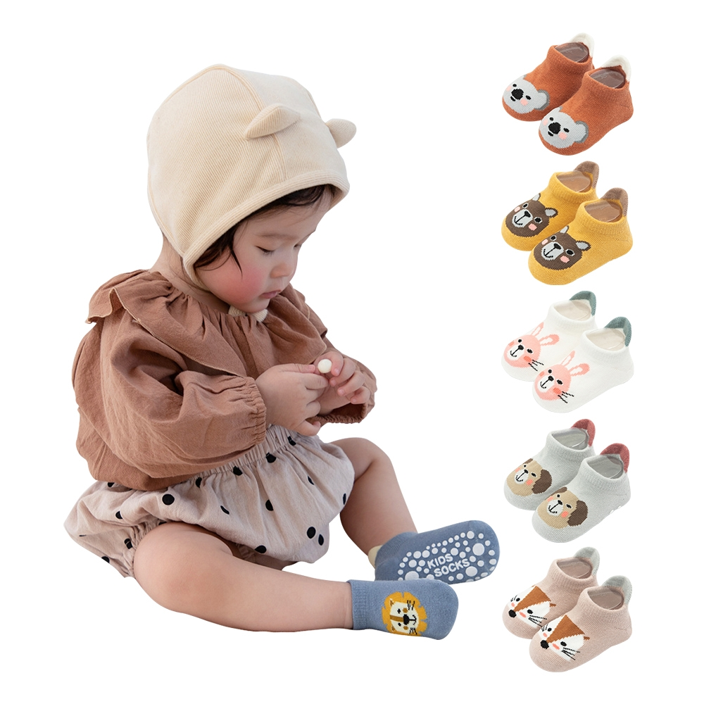 colorland【5雙入】寶寶襪 大點膠防滑童襪 造型襪子
