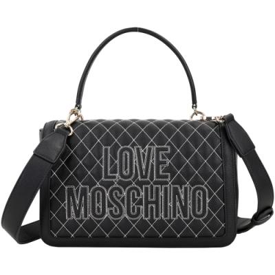 LOVE MOSCHINO LOGO 字母菱格車縫手提/肩背包(黑色)